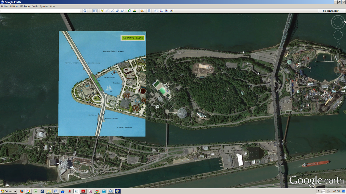Plan de l'Expo 67 appliqué sur une vue par satellite (Google Earth) des îles Saine-Hélène et Notre-Dame.