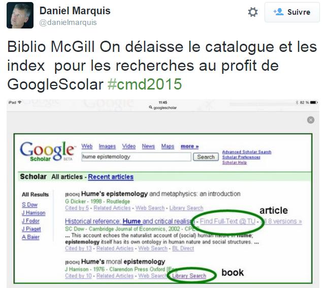 Googlelisation des contenus culturels: captation de l'attention et des données des interactions. Tweet partagé lors du Congrès des milieux documentaires du Québec, 19 novembre 2015.