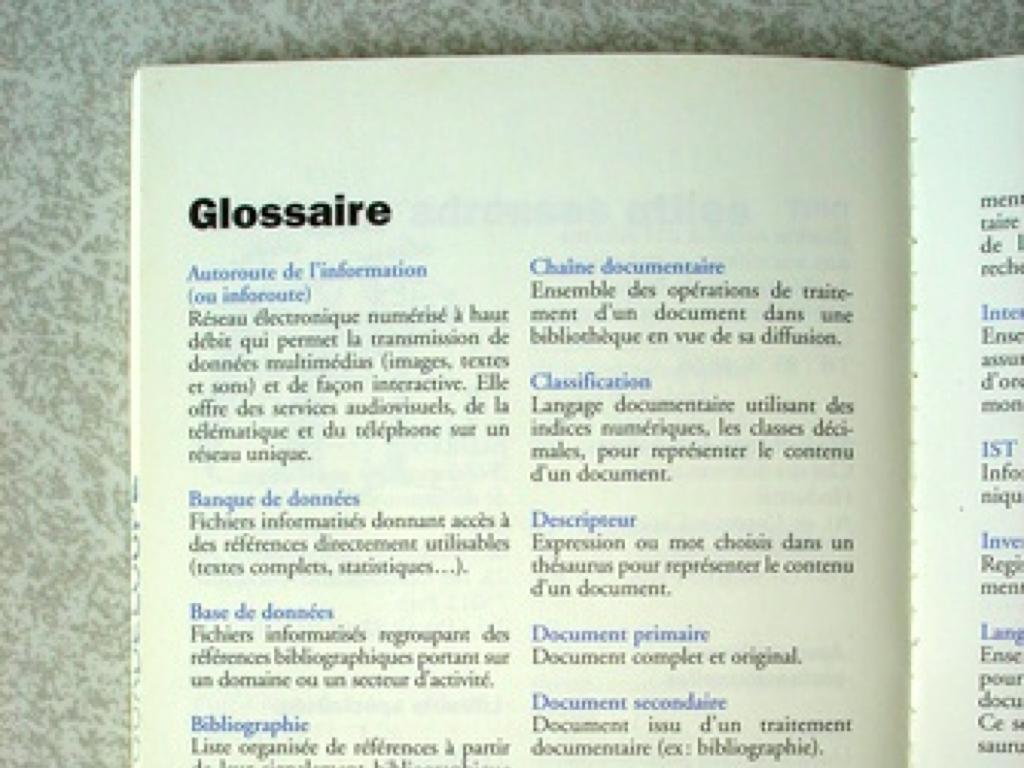 Glossaire, sciences de l'information
