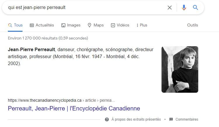 """Résultat de la recherche """"qui est Jean-Pierre Perreault"""", sur Google."""